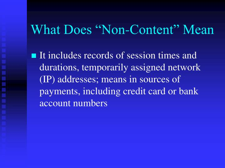 """What Does """"Non-Content"""" Mean"""