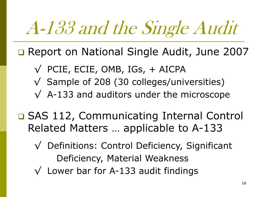 A-133 and the Single Audit