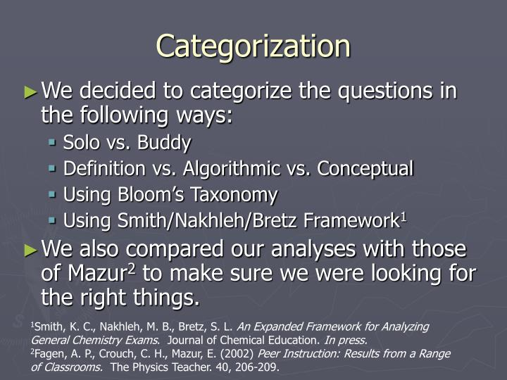 Categorization