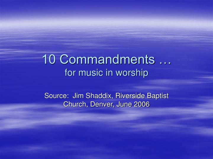 10 commandments for music in worship n.