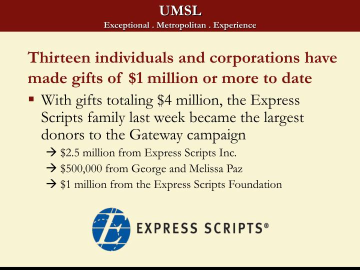 Thirteen individuals and corporations have made gifts of $1 million or more to date