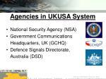 agencies in ukusa system