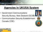agencies in ukusa system62