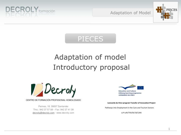 adaptation of model introductory proposal n.