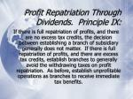 profit repatriation through dividends principle ix