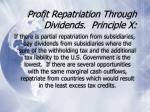 profit repatriation through dividends principle x