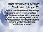 profit repatriation through dividends principle xi