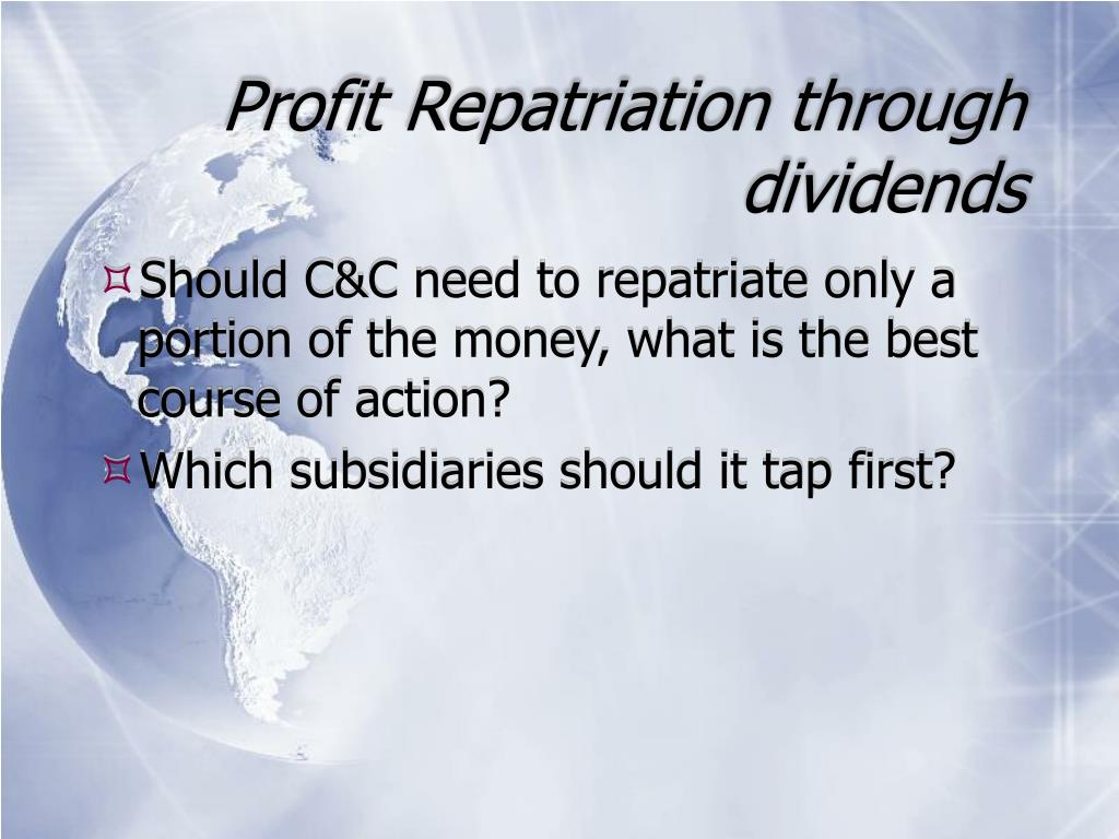 Profit Repatriation through dividends