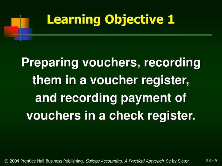 Preparing vouchers, recording
