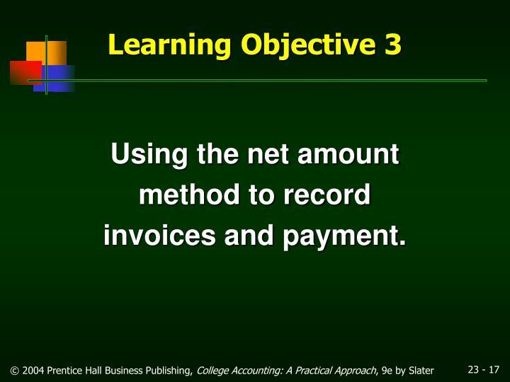 Using the net amount
