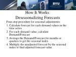 how it works deseasonalizing forecasts