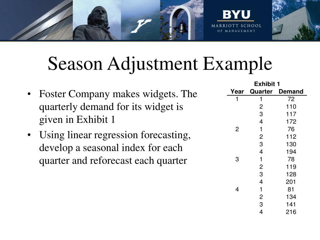 Season Adjustment Example