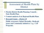 assessment of health plans by district