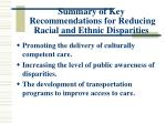 summary of key recommendations for reducing racial and ethnic disparities