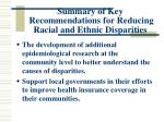 summary of key recommendations for reducing racial and ethnic disparities54