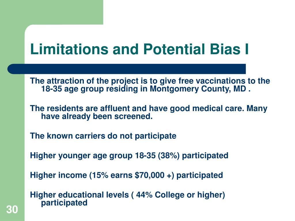 Limitations and Potential Bias I