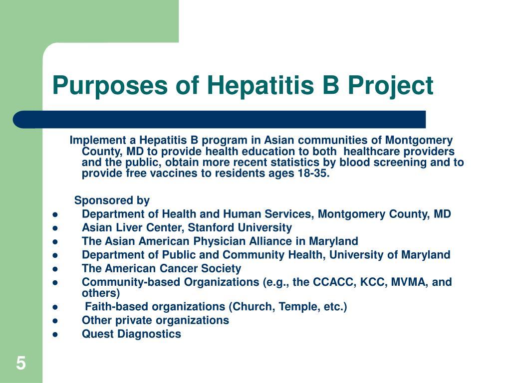 Purposes of Hepatitis B Project