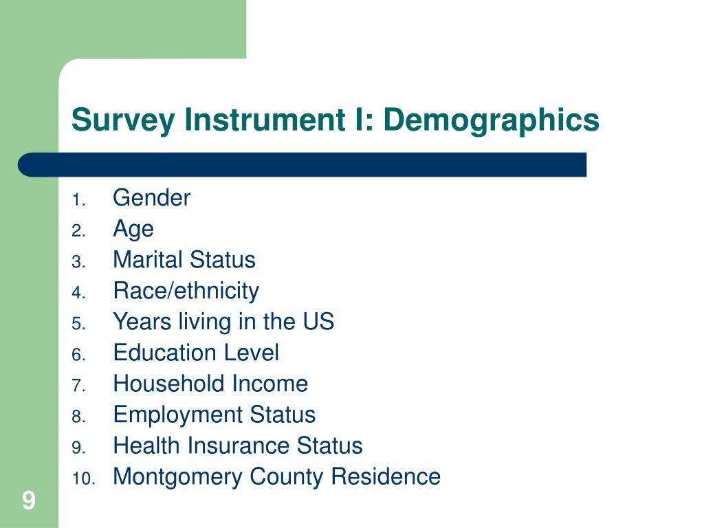 Survey Instrument I: Demographics