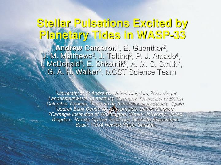 stellar pulsations excited by planetary tides in wasp 33 n.