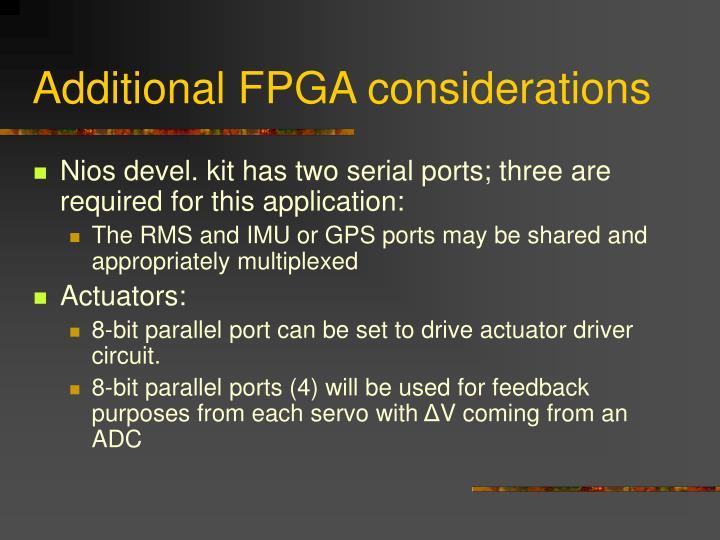 Additional FPGA considerations