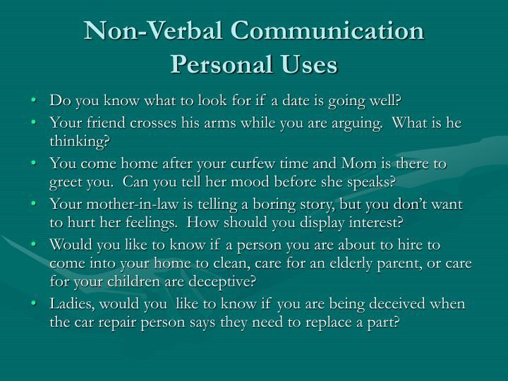 Non verbal communication personal uses