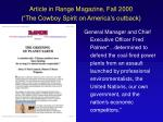 article in range magazine fall 2000 the cowboy spirit on america s outback