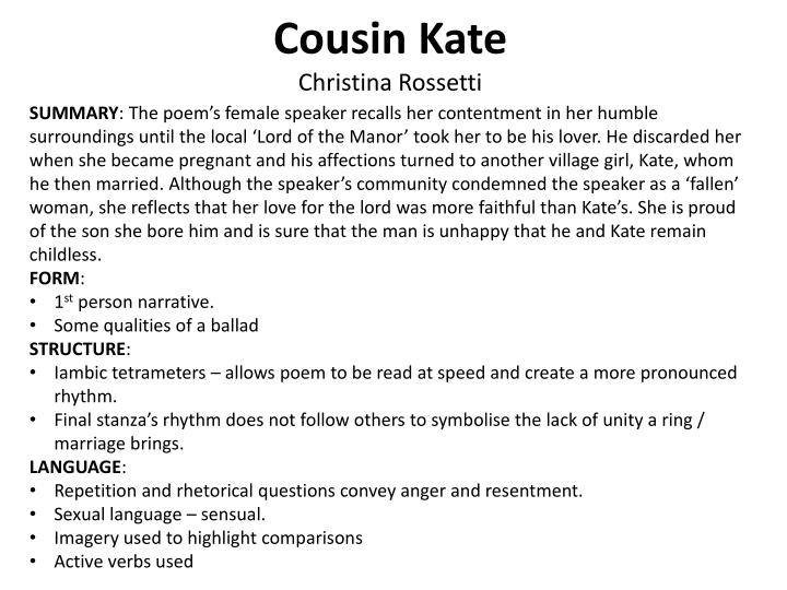 ppt as level english literature poetry revision powerpoint  cousin katechristina rossetti