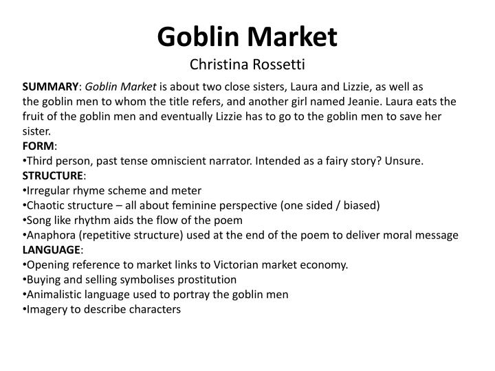 the spiritual and sensual temptations in goblin market a poem by christina rossetti Christina rossetti: faith, gender, and time, have yet given any detailed atten- tion to rossetti's eucharistic beliefs, 1 even though eucharist as sacrifice and saving meal is clearly at the heart of goblin market.