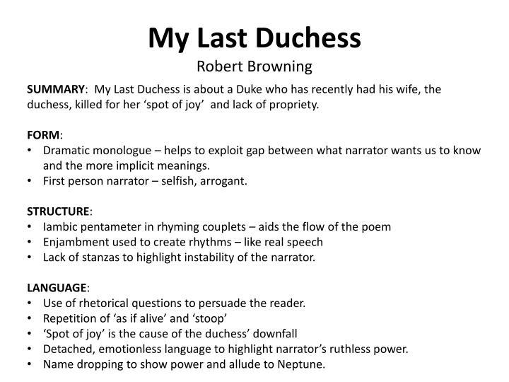 My Last Duchess Power Essay