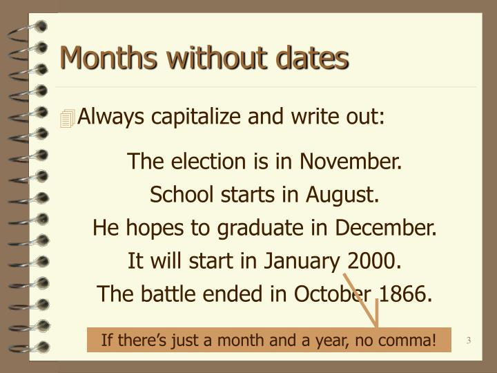 Months without dates