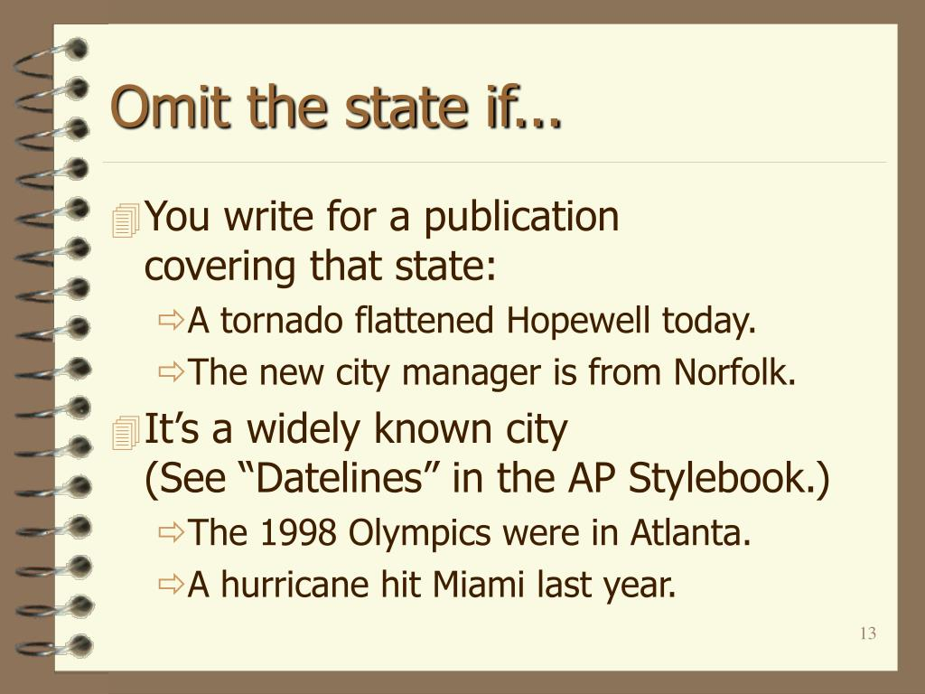 Omit the state if...