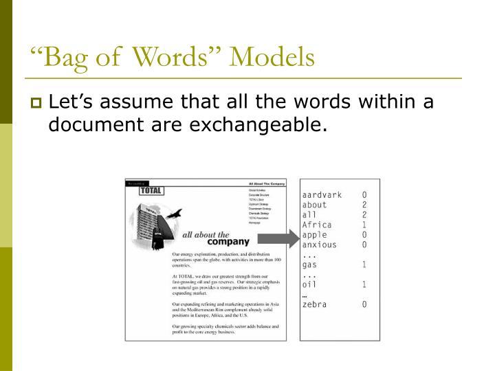 Bag of words models