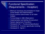 functional specification requirements inception