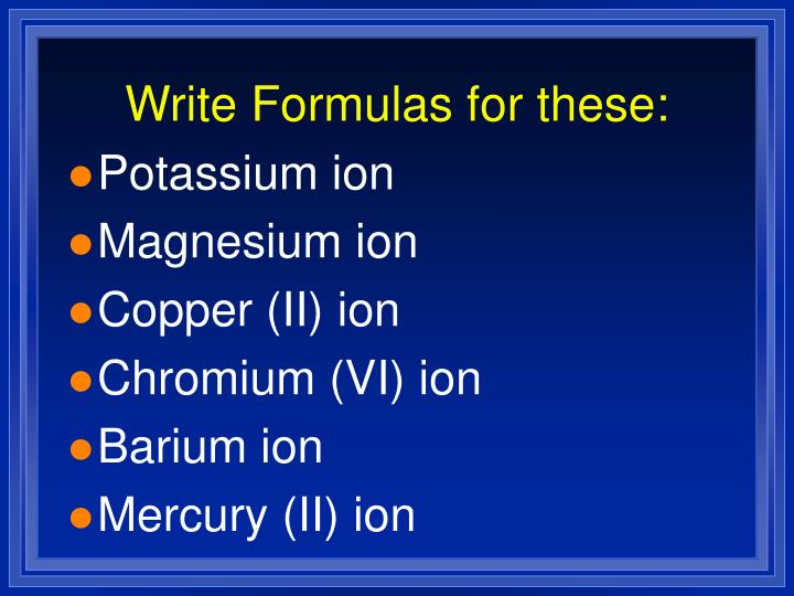 Write Formulas for these:
