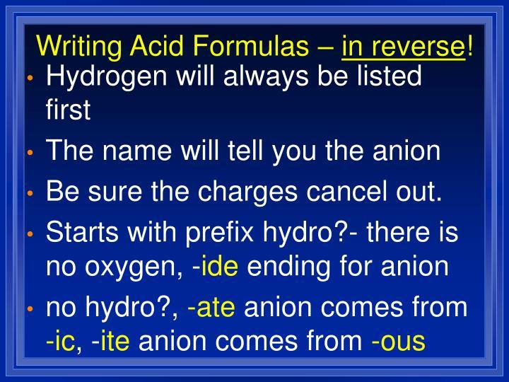 Writing Acid Formulas –
