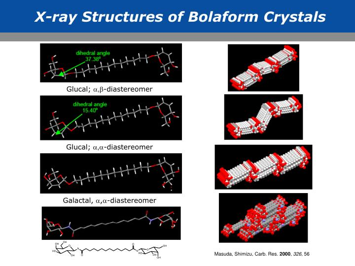 X-ray Structures of Bolaform Crystals