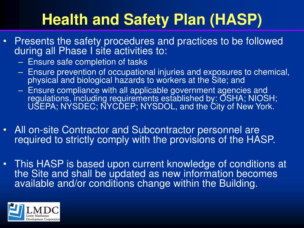Health and Safety Plan (HASP)