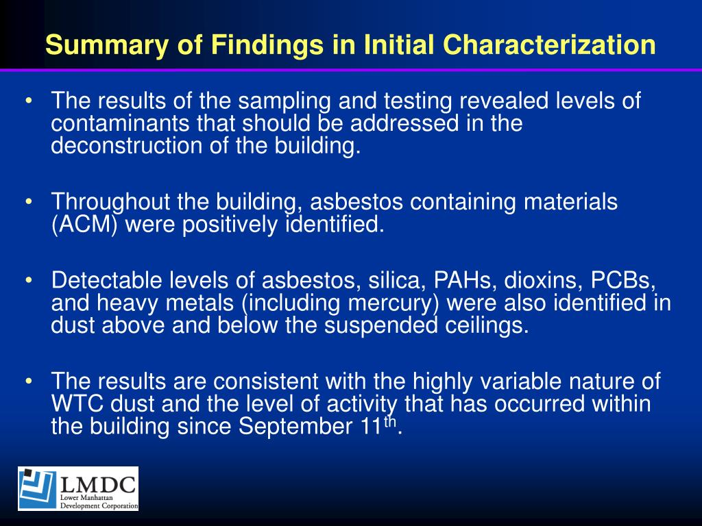 Summary of Findings in Initial Characterization