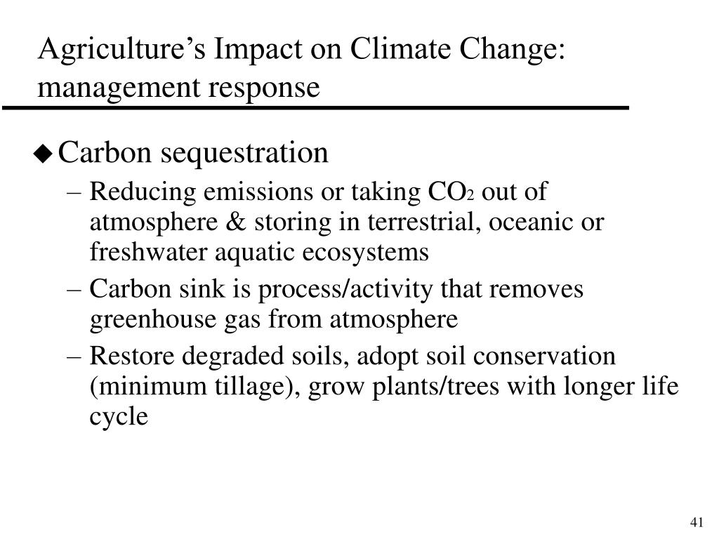 Agriculture's Impact on Climate Change: management response