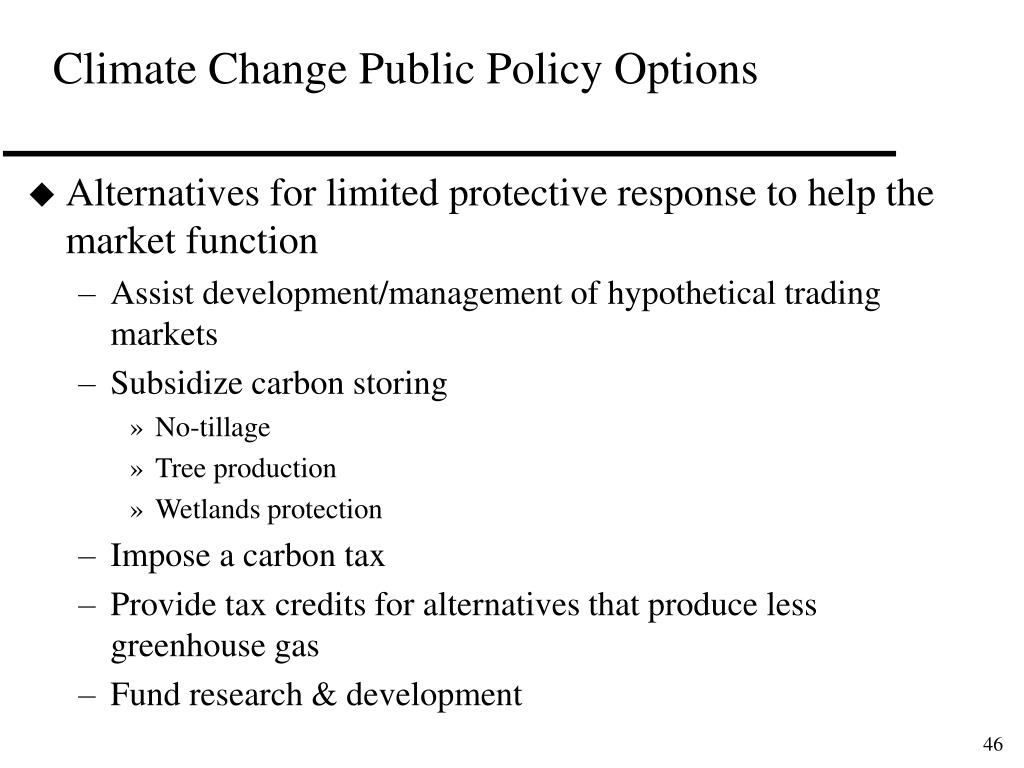 Climate Change Public Policy Options