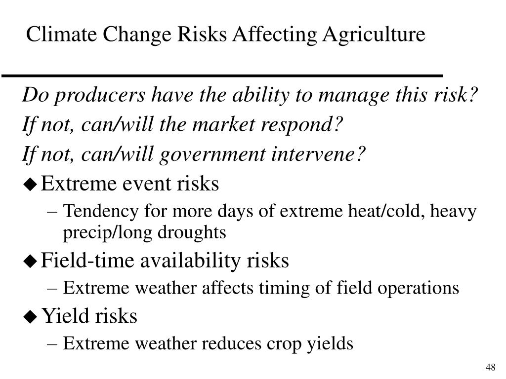 Climate Change Risks Affecting Agriculture