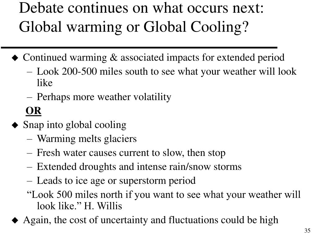 Debate continues on what occurs next: Global warming or Global Cooling?