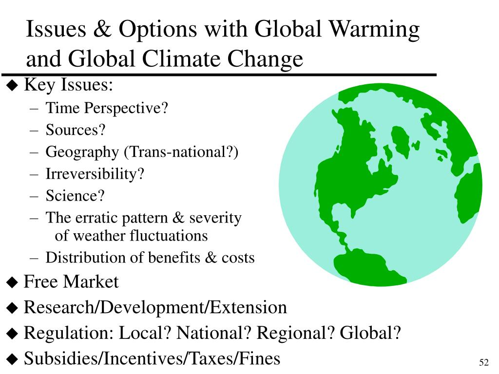 Issues & Options with Global Warming and Global Climate Change