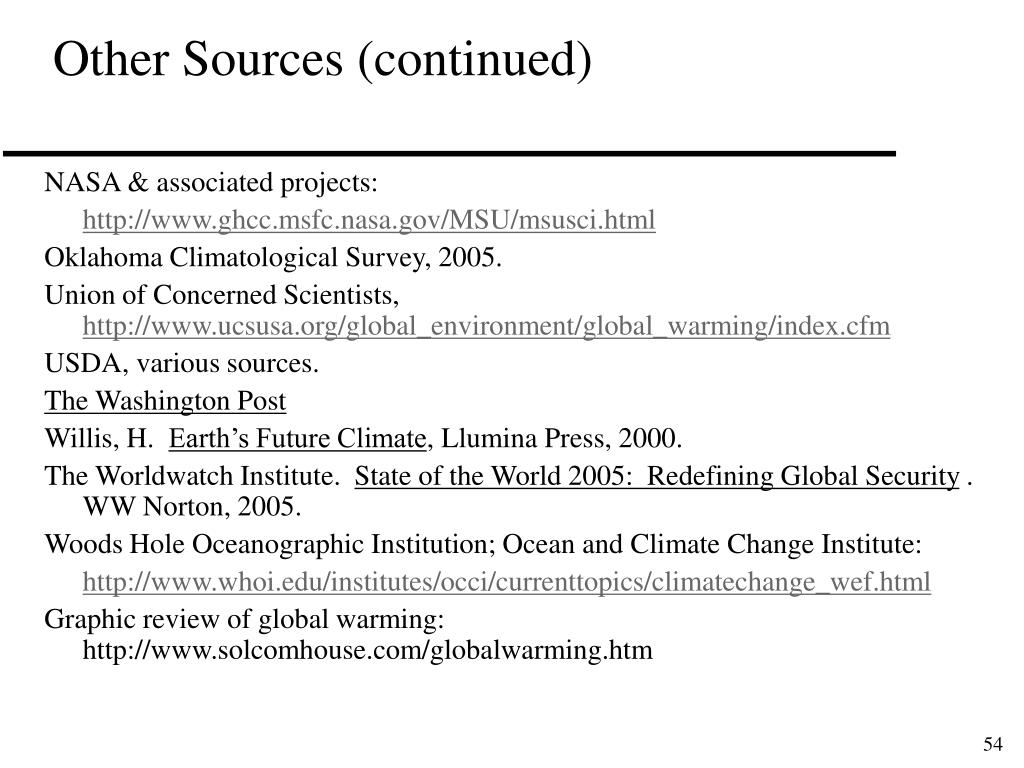 Other Sources (continued)