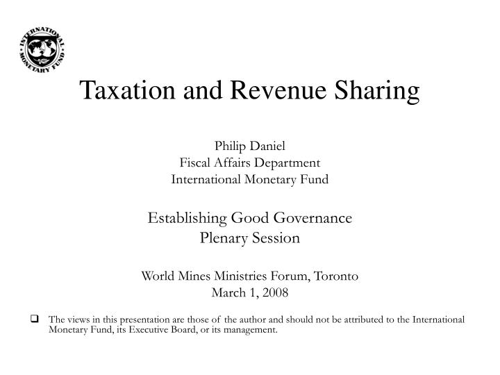 taxation and revenue sharing n.