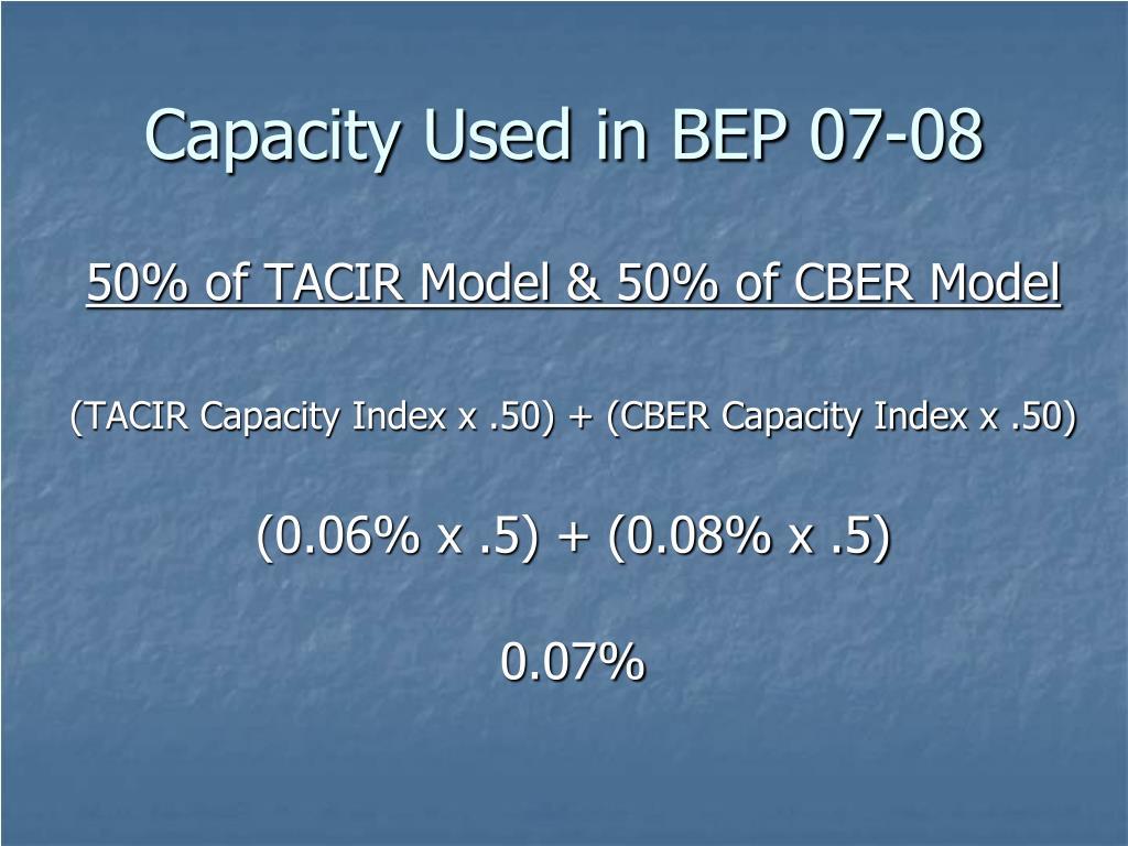 Capacity Used in BEP 07-08