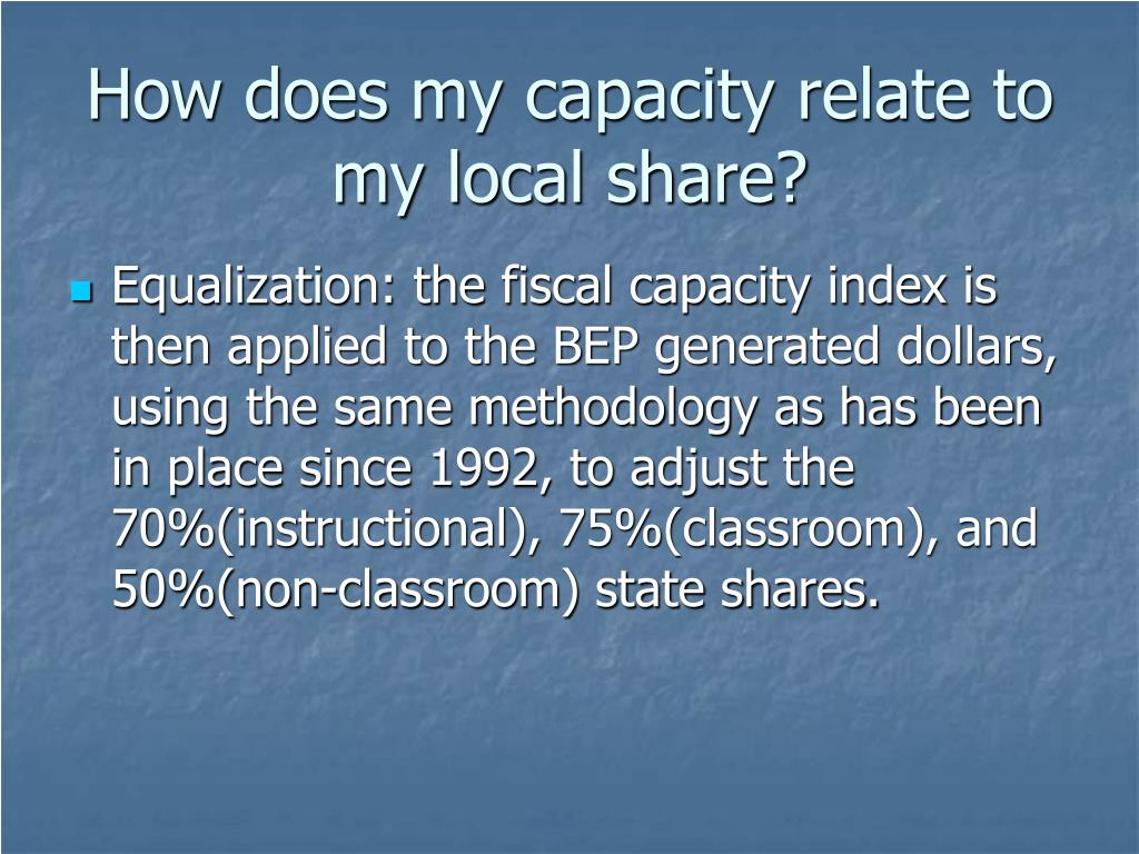 How does my capacity relate to my local share?