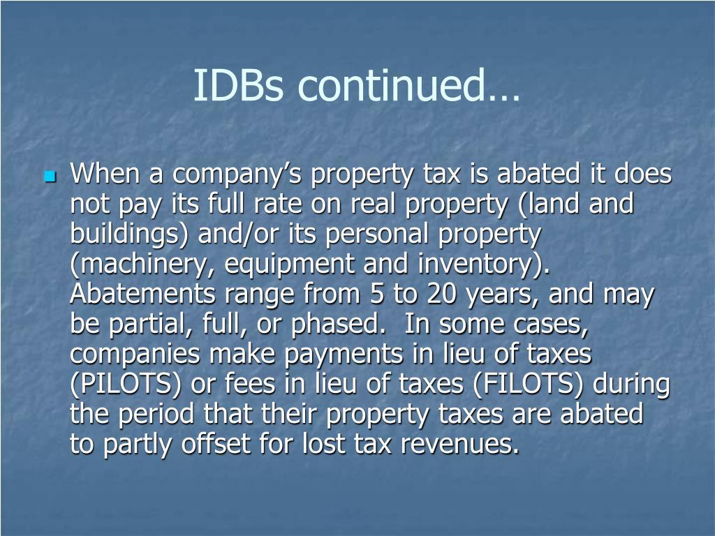 IDBs continued…