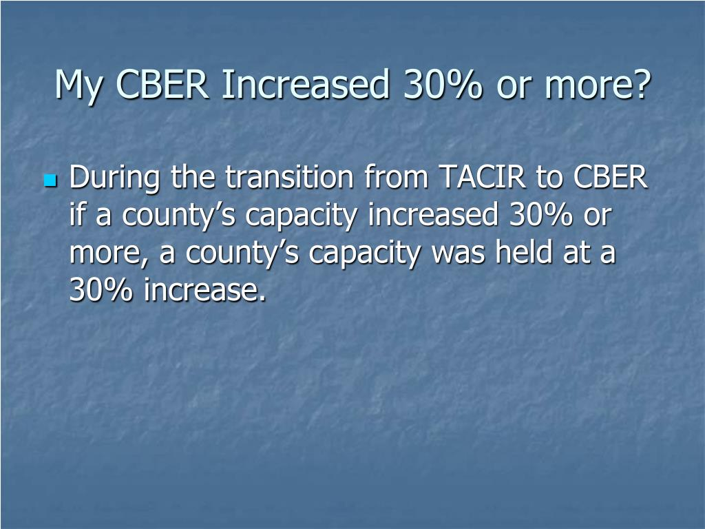 My CBER Increased 30% or more?