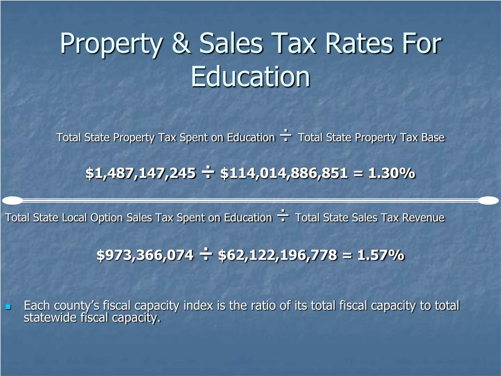 Property & Sales Tax Rates For Education